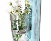 Shabby chic decor wood single wall vase cottage style in LIGHT TURQUOISE