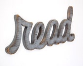 READ Sign wooden wall art cottage decor - word sign - library sign - SLATE GRAY