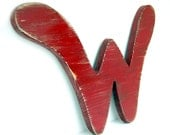 rustic letter W wooden hanging sign americana letter primitive sign - corona red