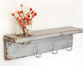 cottage shelf wood shabby chic vase hooks industrial Metallic Silver - Silver Hks