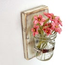 shabby chic sconce Cottage Decor vase wood single vase - Vintage White - OldNewAgain