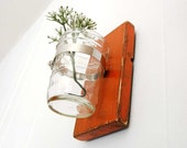 primitive wall decor mason jar vase wood single vase - Poppy Orange