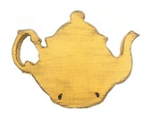 teapot wooden signs kitchen signs key hooks primitive country Yellow