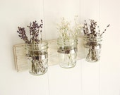 mason jar shabby chic wood wall organizer vintage white -or- you choose the color - OldNewAgain