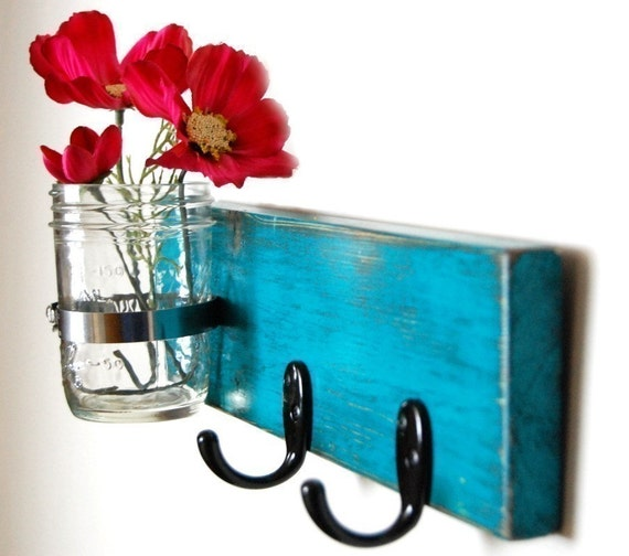wall key hanger with vase Dark Turquoise on Etsy
