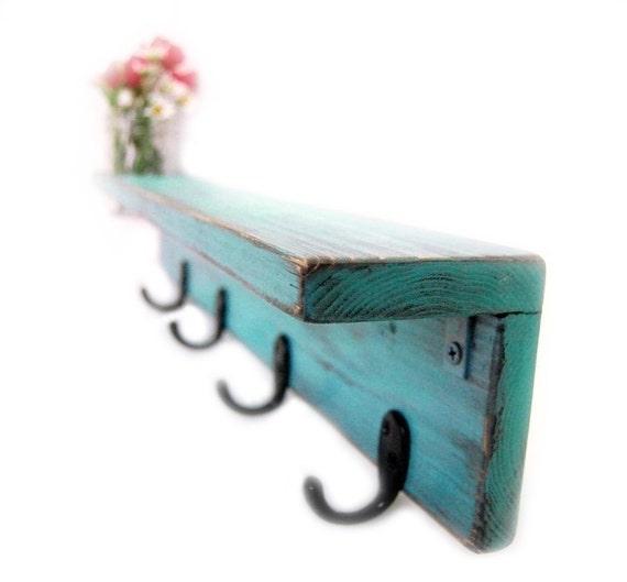 Handmade Wood Shelf with Vase Key Hooks AQUA