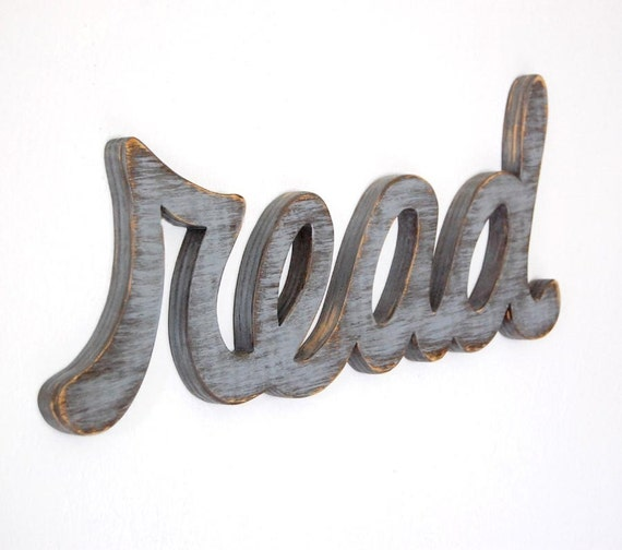 READ Wood Distressed Wall Sign SLATE GRAY