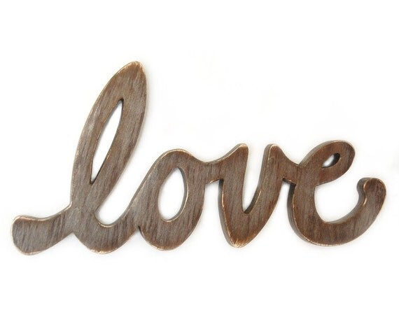 Love Sign wood distressed modern Handmade industrial urban metallic