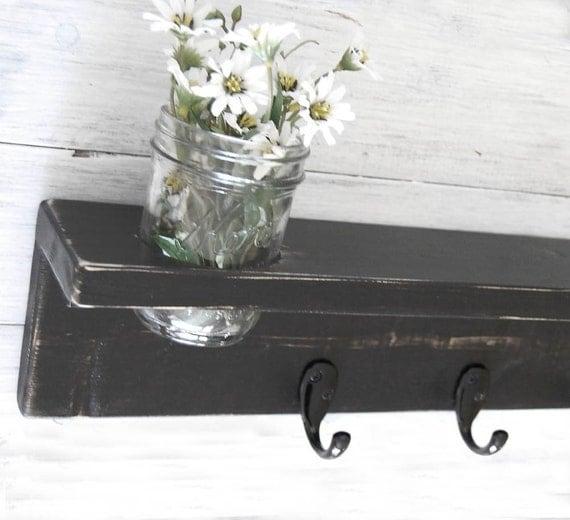painted wood shelf hooks primitive Lamp Black on Etsy
