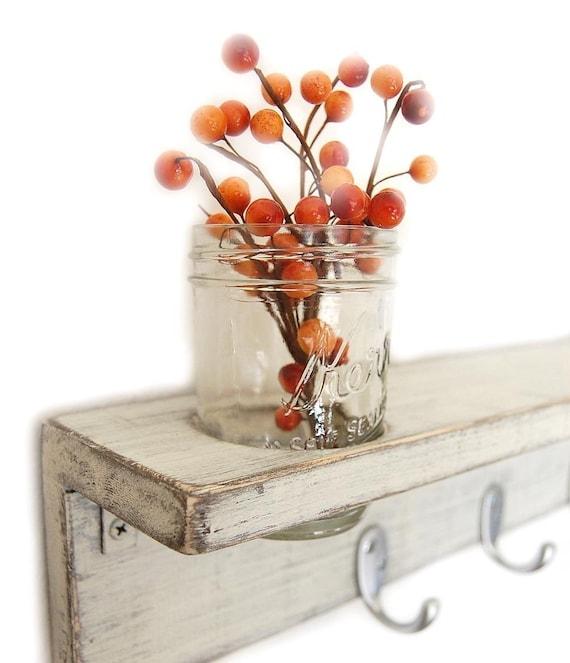 shelf wood hooks jar organizer Cottage Home Decor Vintage White