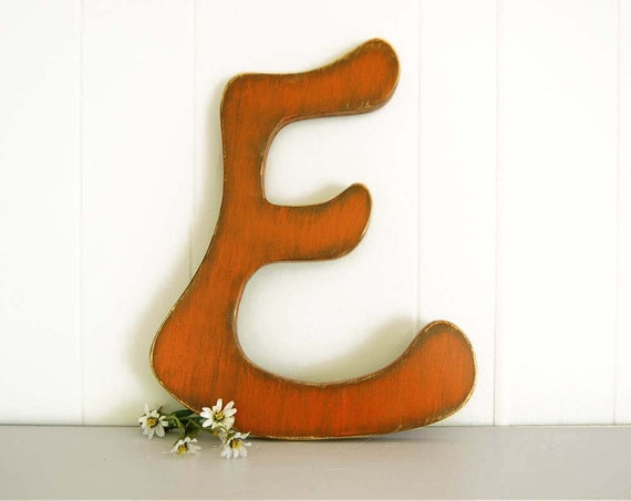 SALE -- Hanging wood letters Letter E painted sign wood sign wall sign poppy orange
