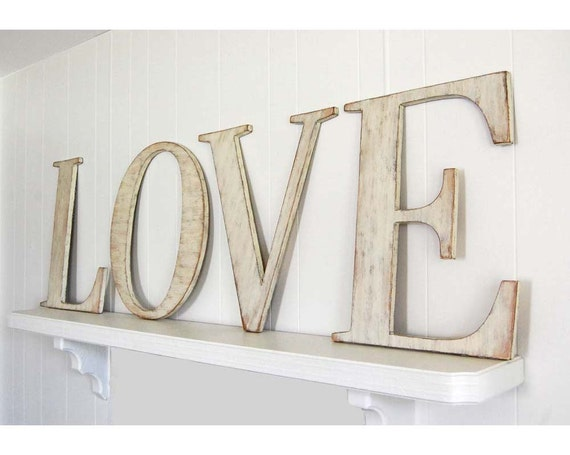 Items similar to love wood wedding letters large wooden for Giant letters for wedding