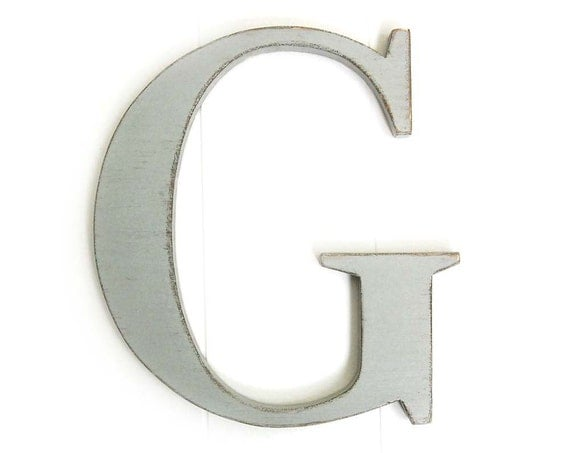 Letter G - 12 inch wooden shabby chic style - gray or you choose color