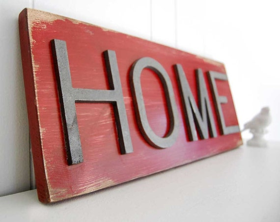 primitive sign wood sign home sign corona red metal sign home decor