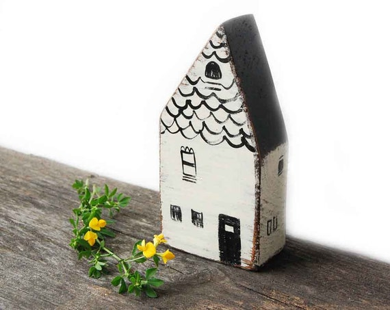 House secret money hider wooden sculpture - Vintage White - customized
