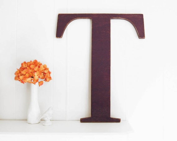 Wall Decor Letter T : Large wall letter t wooden home decor deep purple by