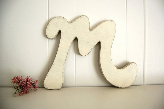baby shabby chic wooden letters nursery - M - Vintage White