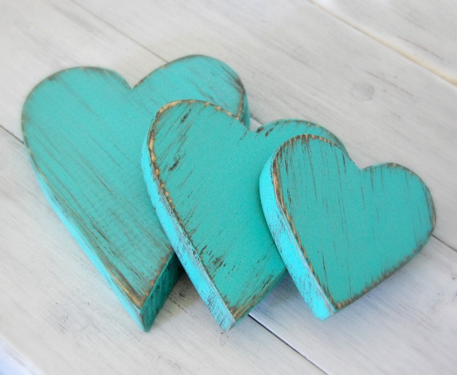 Wood Hearts Decorative Country Shabby Chic Cottage Decor