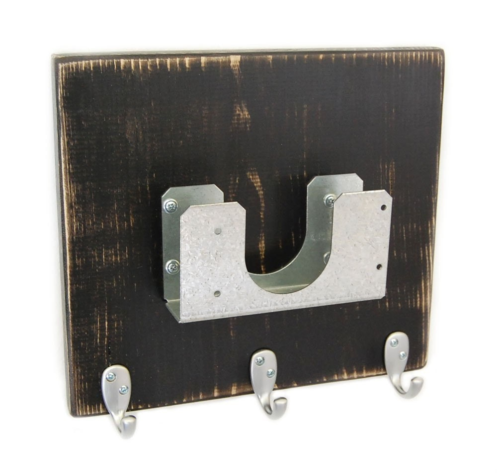 Wall Mail Organizer Cottage Decor Key Hooks Distressed Black