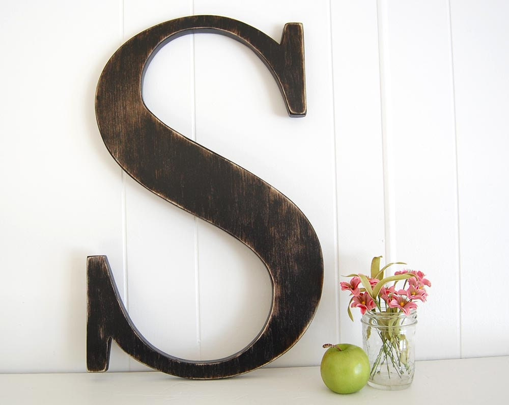 Large wall letter s cottage rustic farmhouse 22 by oldnewagain for Large letter k wall decor
