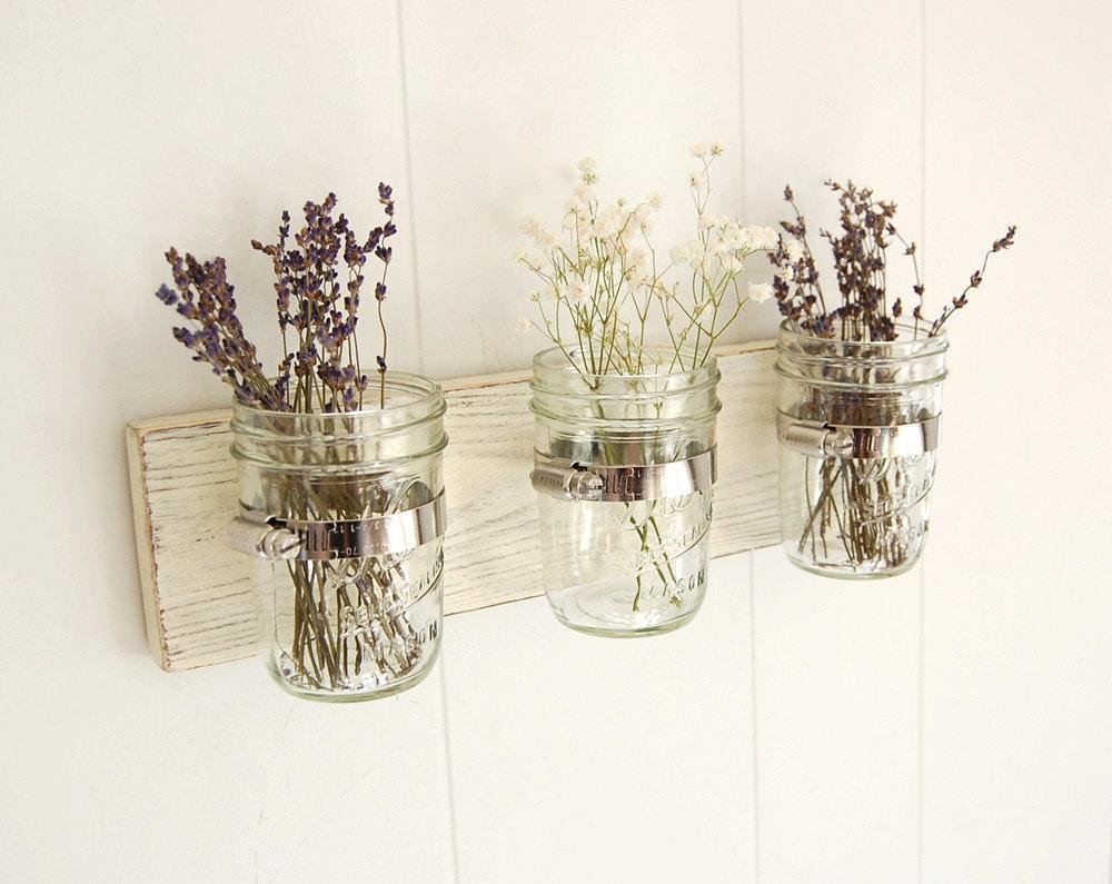 mason jar shabby chic wood wall organizer vintage by. Black Bedroom Furniture Sets. Home Design Ideas