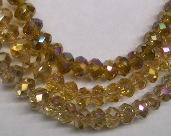 100ct 8x5mm Quality Faceted Crystal Rondelle Beads in Topaz Champagne Brown AB Mix