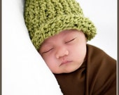 SOFT Knitted Green Baby Beanie with Green Pom- GREAT PHOTO PROP