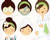 Spa Girl in robes clipart for invitations , graphic design and crafts-Digital PNG clipart