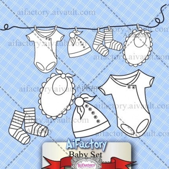 Baby clothese on a line - Digital Stamp.