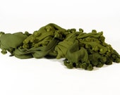 PomPom Tassel Dupata - Handwoven Cotton - Ombre Dark Avacado Leaf