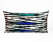 SALE - 50% OFF - Silk Ikat Pillow - 1960's Satin Black White Ultramarine Turquoise - 12 X 22