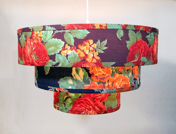 SALE Russan Floral Lampshade - Three Tiered  Pendant - Rich Floral - 18 x 10