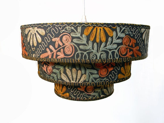 50's Folkloric Lampshade - Three Tiered Pendant