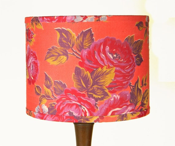SALE Russian Floral Lampshade - Vintage Bright Coral with Roses - 9 x 7