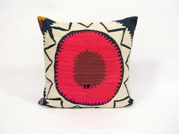 Suzani Pillow - Hot Pink and Chocolate Brown Whorl - 16 x 16