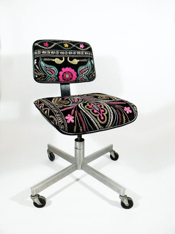 Suzani Office Chair Abstract Blooming Floral 1980 S