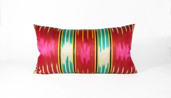 Antique Ikat Pillow - 1960's Bright Stripes - 12 x 22