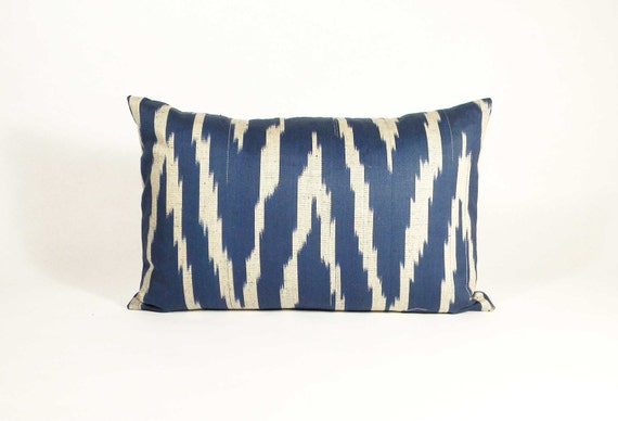 Ikat Pillow - Vintage Blue White Chevron Cotton  - 12 x 18