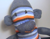 Adopt a Mis-Matched Sock Monkey Stripes with Red and Blue