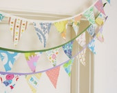 Bunting, Fabric Bunting, Banner, Fabric Pennant, Upcycled Vintage Fabrics, Vintage Floral, Handmade by Knotted Nest