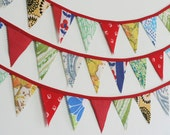 Bunting, Fabric Bunting, Photo Prop Banners, Vintage Garland with Flags, Bright Primary Colors, Knotted Nest