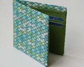 Mens wallet, Billfold wallet, Green Geometry, Vegan Wallet, Handmade by Knotted Nest on Etsy