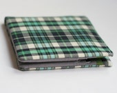Mens wallet, Wallet, Billfold, Vintage Upcycled Fabrics, Dark Green Plaid, Handmade by Knotted Nest on Etsy