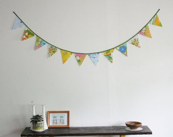 Bunting, Fabric Bunting, Banner, Fabric Pennant, Large Triangles, Sweet Springtime, Handmade by Knotted Nest