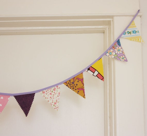 Fabric Bunting or Garlands, Perfect Purples, Pinks, and Yellows