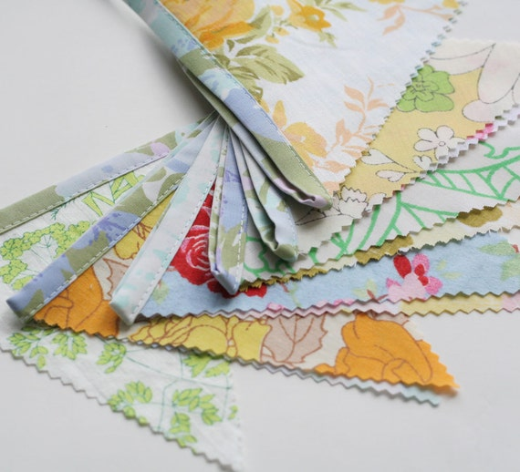 Large Triangle Bunting Banner, Vintage Floral Fabrics, Nursery Decor, Wedding Bunting, Knotted Nest on Etsy