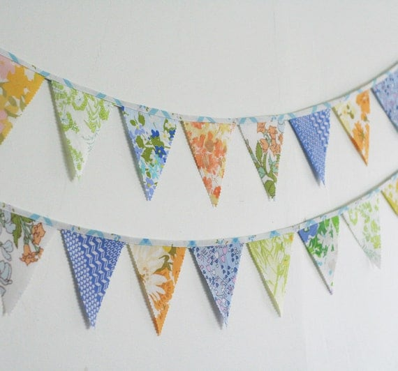 Large Triangle Bunting Banner, Vintage Fabrics, Nursery Decor, Party Decorations, Knotted Nest on Etsy