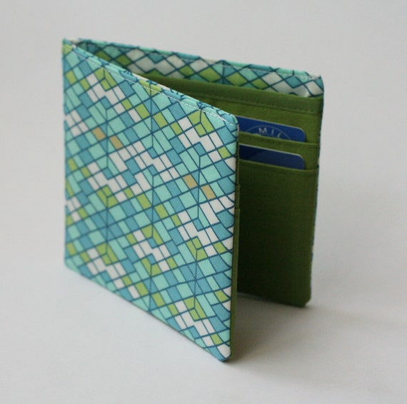 Mens wallet, Billfold wallet, Green Geometry, Vegan Wallet, Handmade by Knotted Nest on Etsy