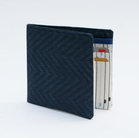 Mens wallet, Billfold Wallet, Bifold Wallet, Navy Chevron, Handmade by Knotted Nest on Etsy