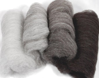 Shetland Black to Grey Ombre Spinning Batts - 4 ounces